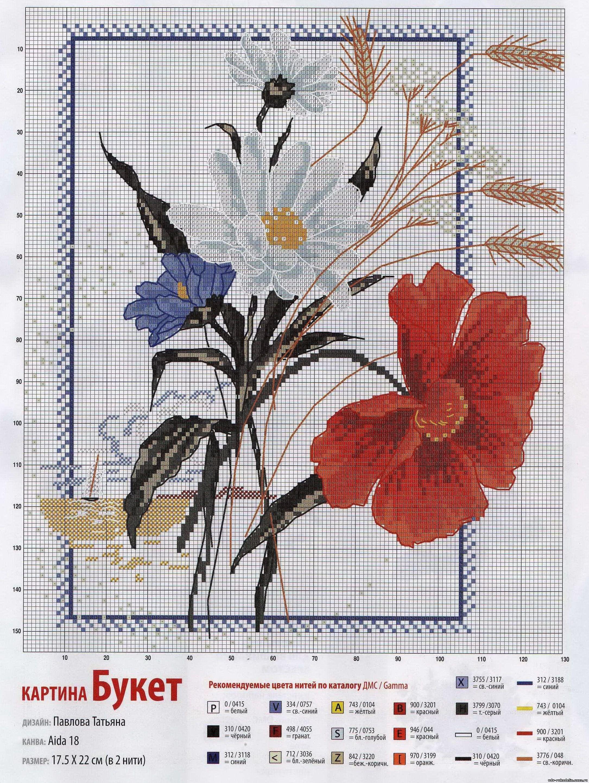 Схема вышивки полевые цветы монохром