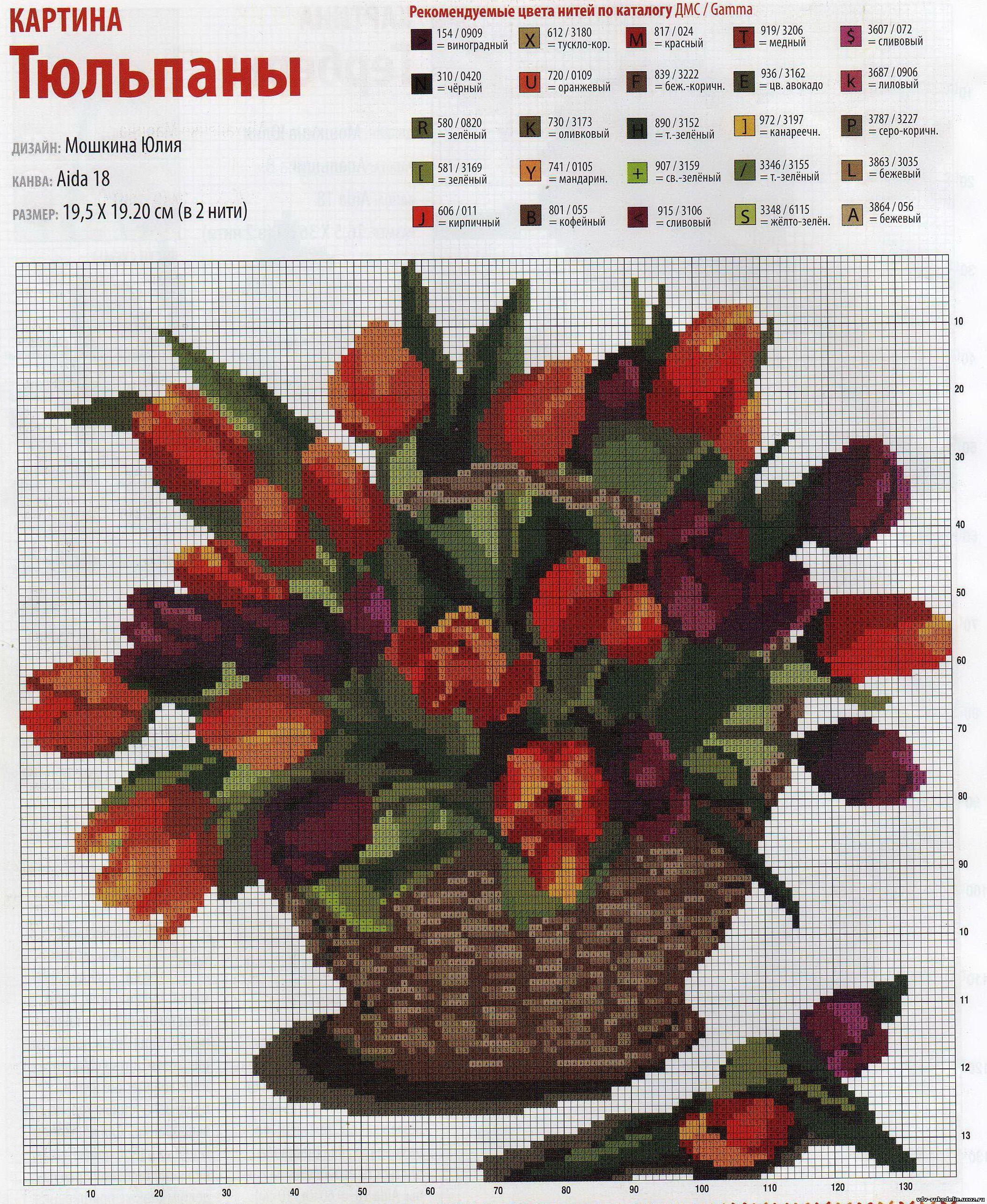 схема крестиком белые тюльпаны